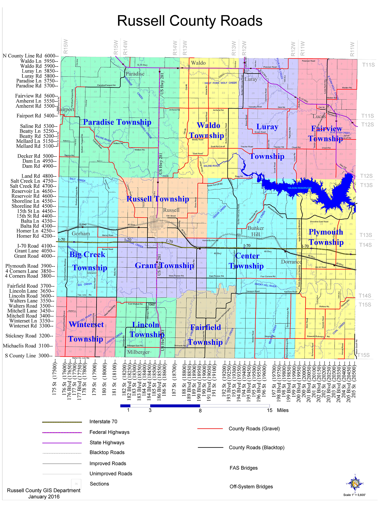 Russell County Township Map